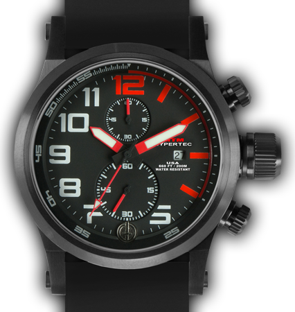 HYPERTEC CHRONO 2A Black Red Dial - Black Rubber II - Black Buckle