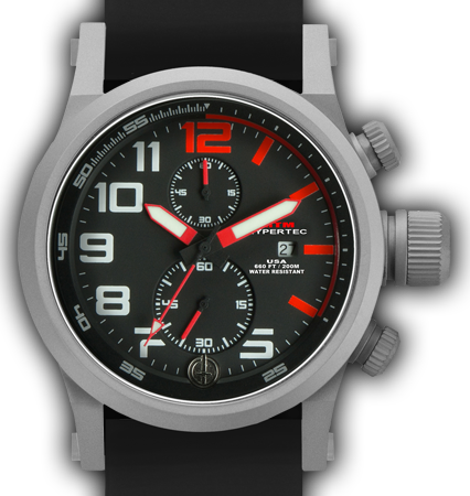 HYPERTEC CHRONO 2A Grey Red Dial - Black Rubber II- Silver Buckle