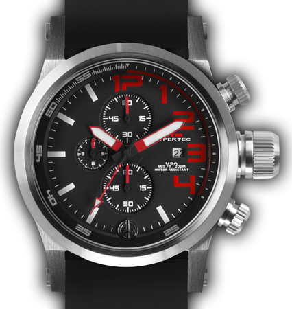 HYPERTEC CHRONO 3A Silver Red Dial - Black Rubber II- Silver Buckle
