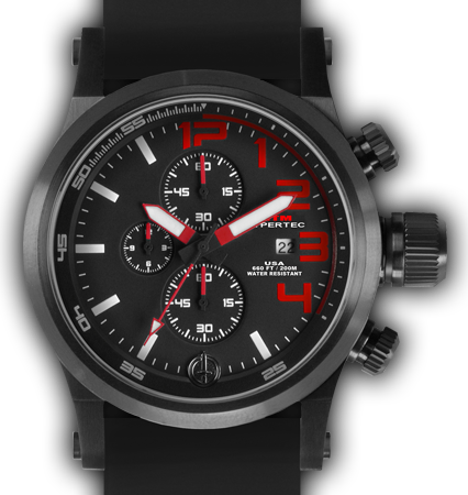 HYPERTEC CHRONO 3A Black Red Dial - Black Rubber II - Black Buckle