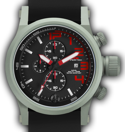 HYPERTEC CHRONO 3A Grey Red Dial - Black Rubber II- Silver Buckle