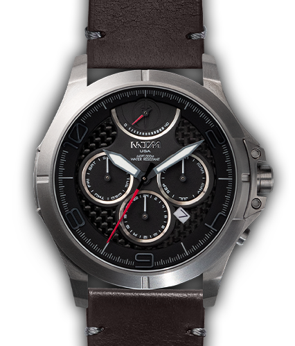 Oconus Silver - Black II Dial - OC Leather Brown - Silver Buckle
