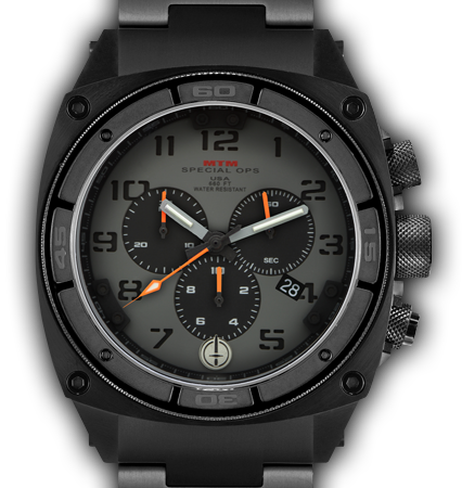 Predator II Black Tit Grey Dial Black Sub Dial Black Number - Tit Band-Orange Hand