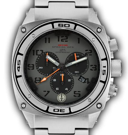 Predator II Silver Tit Grey Dial Black Sub Dial Black Number - Tit Band-Orange Hand