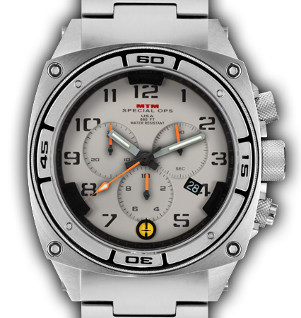 Predator II Silver Tit Tan Dial Tan Sub Dial Grey Number - Tit Band-Orange Hand