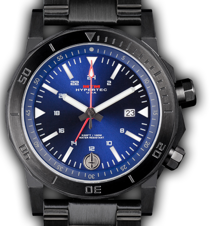H-61 Black-Blue Dial-Stainless Steel Band