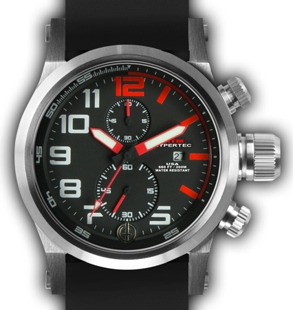 HYPERTEC CHRONO 2A Silver Red Dial - Black Rubber II- Silver Buckle