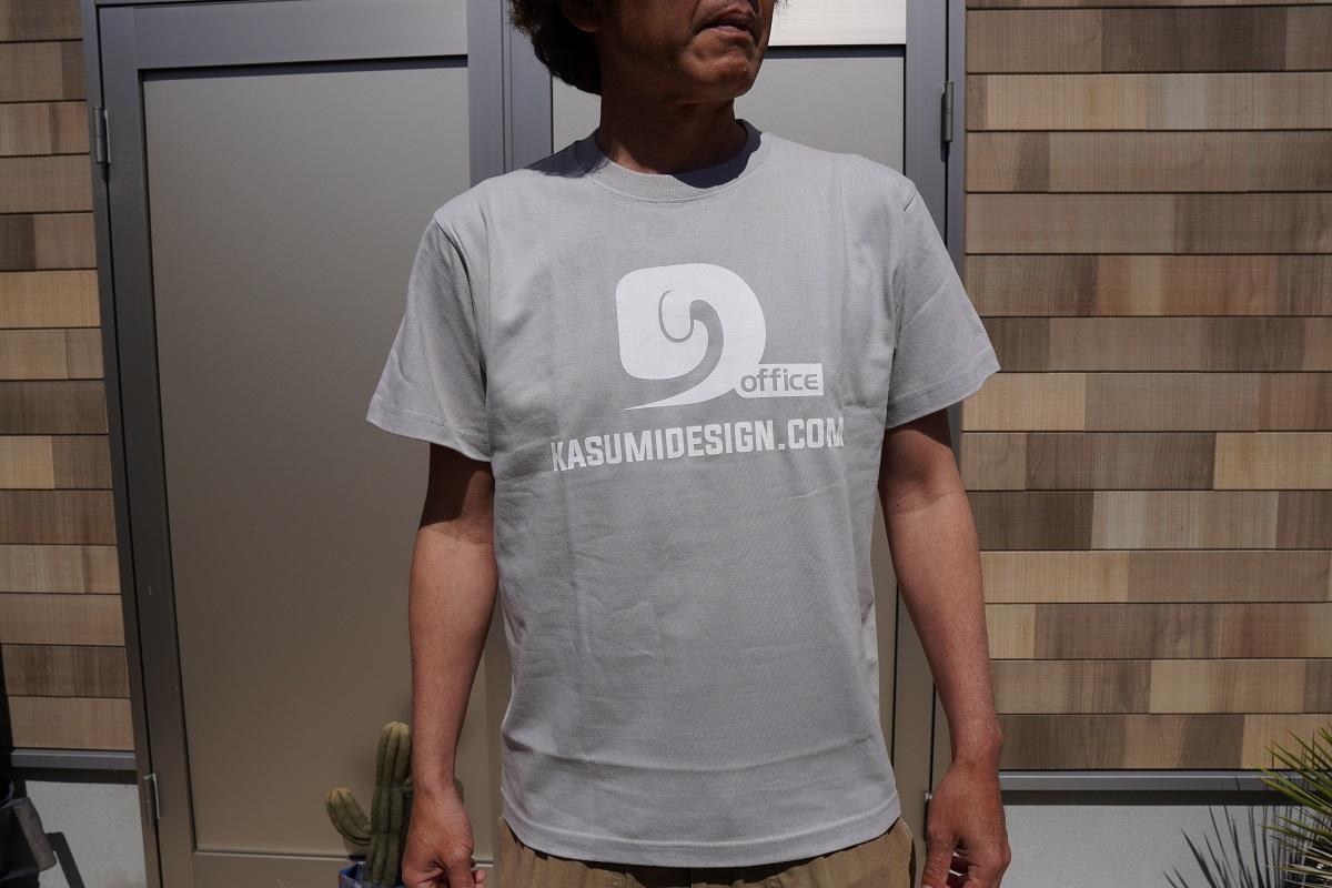 霞DダブルプリントTシャツ ライトグレー