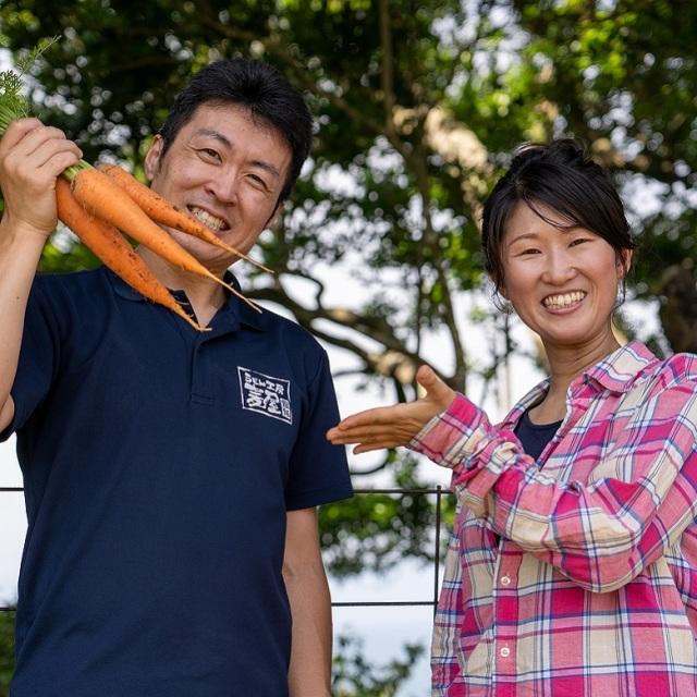 無農薬栽培のにんじんを収穫する様子