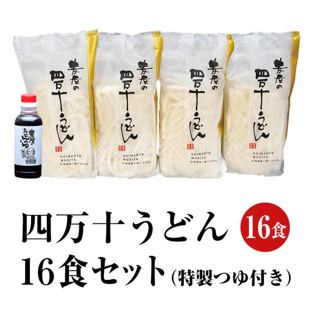 【麦屋シリーズ】四万十うどん 16食セット(特製つゆ付き)【冷凍】【送料込】【MO-16】