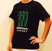 mukawa energyTシャツ(ブラック) フロント・グリーン