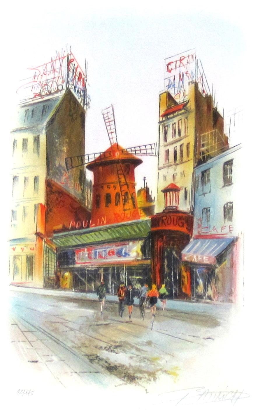 フランス風景画・バティニック「ムーランルージュ」リトグラフ・額寸445×545mm