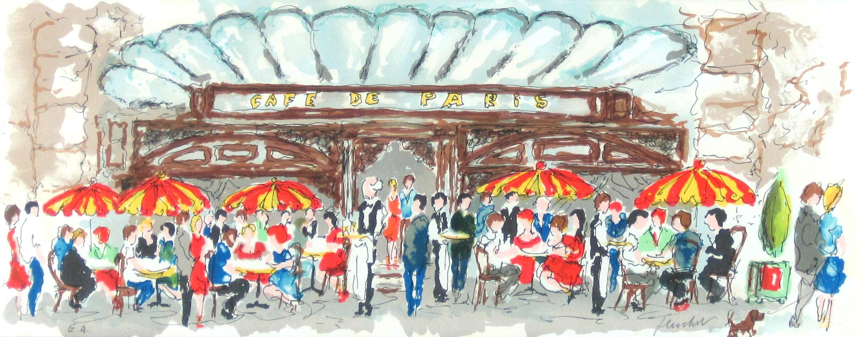 ヨーロッパ風景画・ ウシェ「凱旋門」リトグラフ・外寸450×760mm