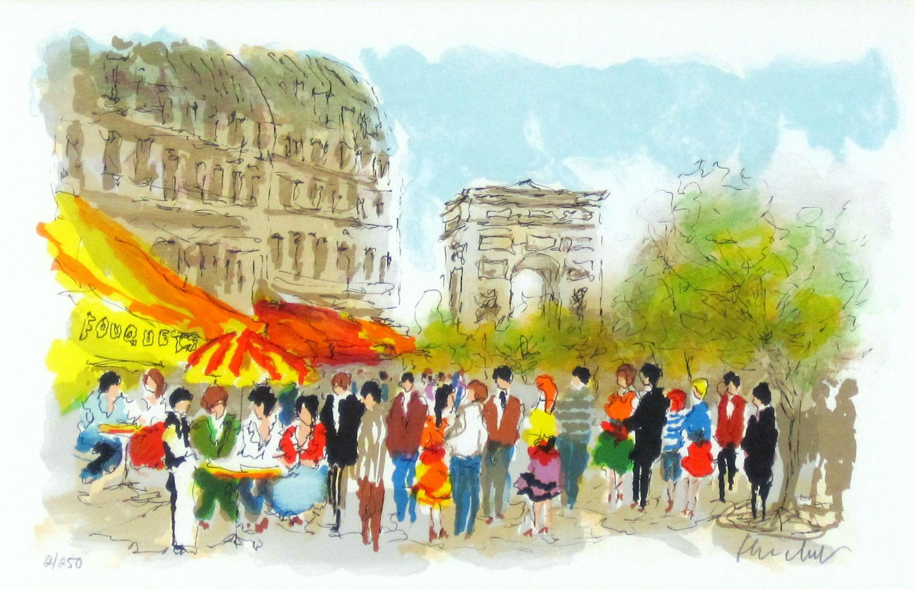 ヨーロッパ風景画・ ウシェ「凱旋門」リトグラフ・外寸465×605mm
