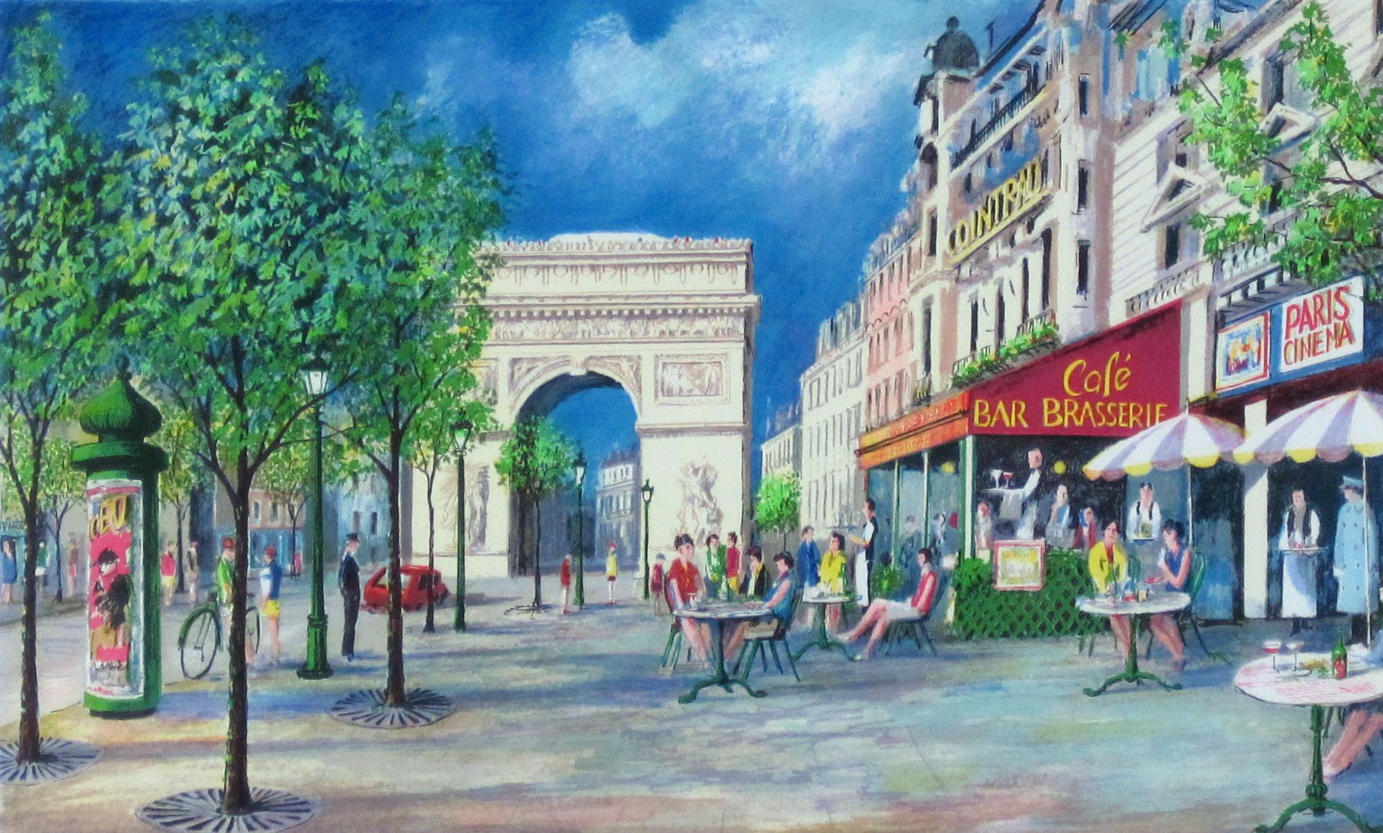 フランス風景画・ジェレミーキング「凱旋門」リトグラフ・額寸510×590mm