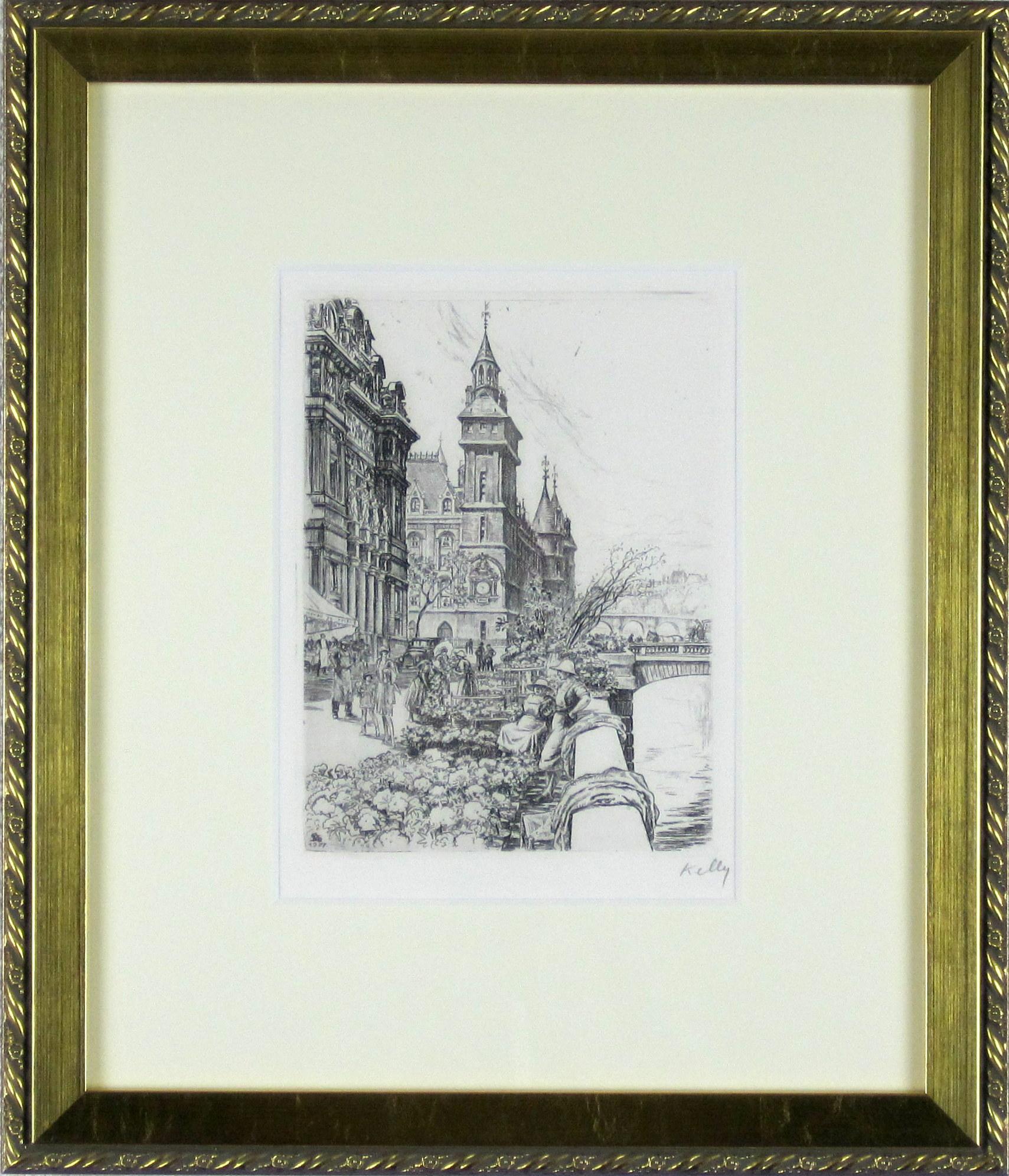 パリ風景画・ケリー 「ノートルダム」エッチング400×334mm