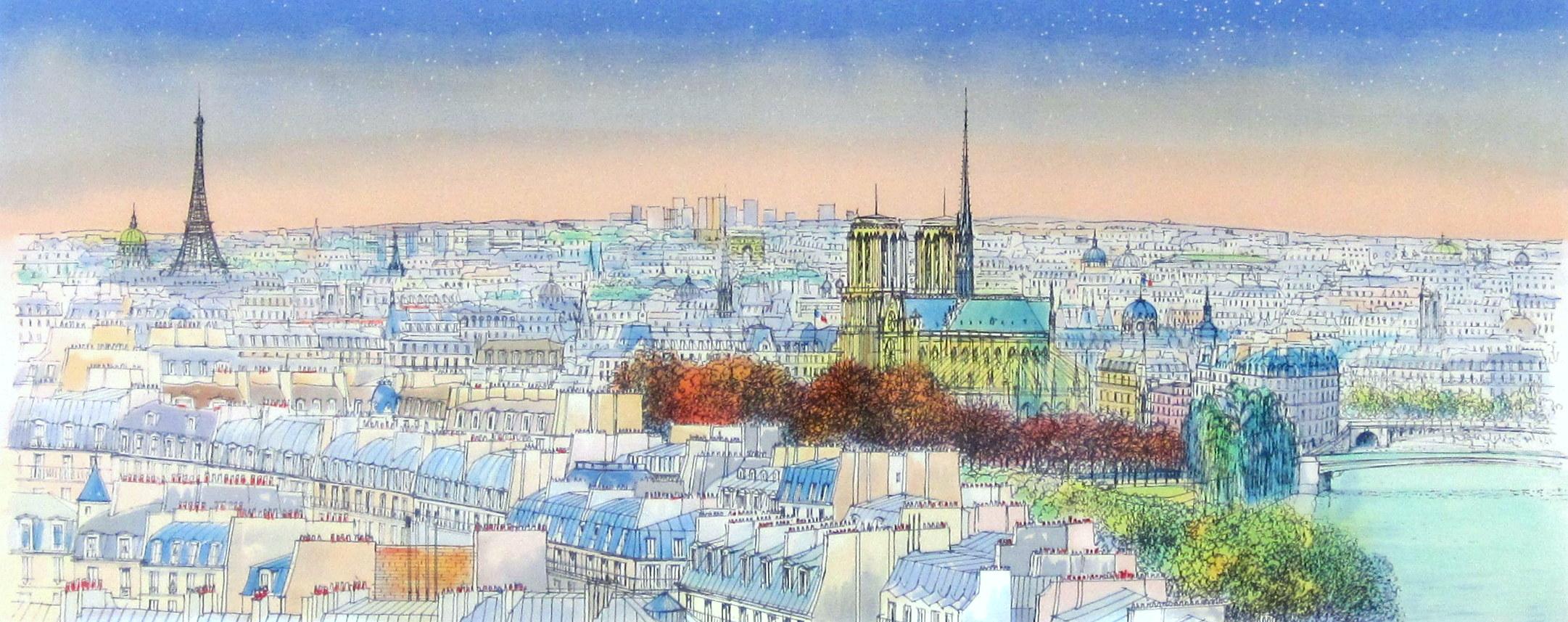 ヨーロッパ風景画・ラフルスキー「パリ」リトグラフ・外寸450×760mm