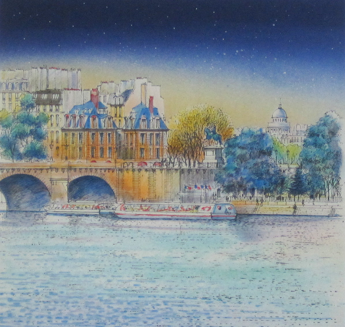 ヨーロッパ風景画・ ラフルスキー 「星空のセーヌ」 リトグラフ・外寸485×490mm