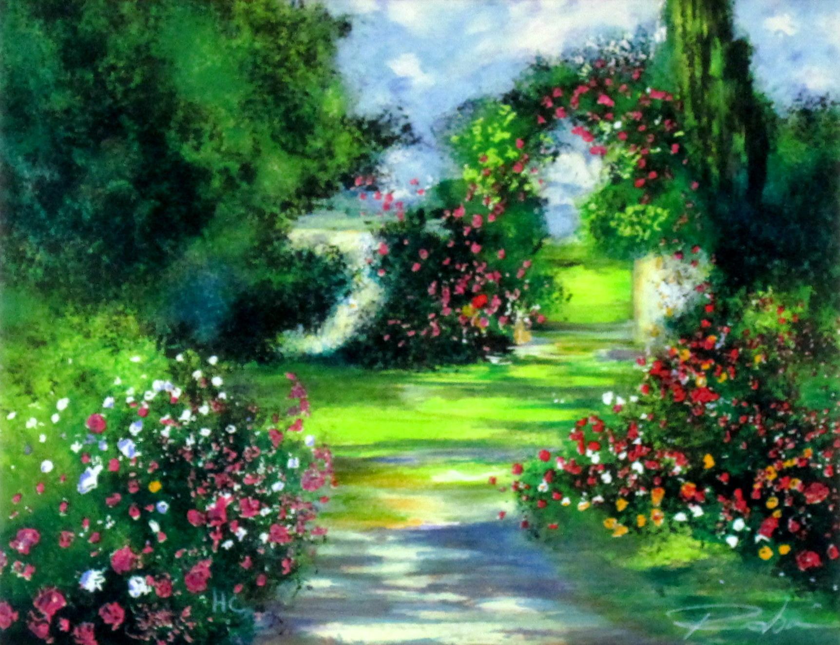 ヨーロッパ風景画・ ロビック「花咲く庭」リトグラフ
