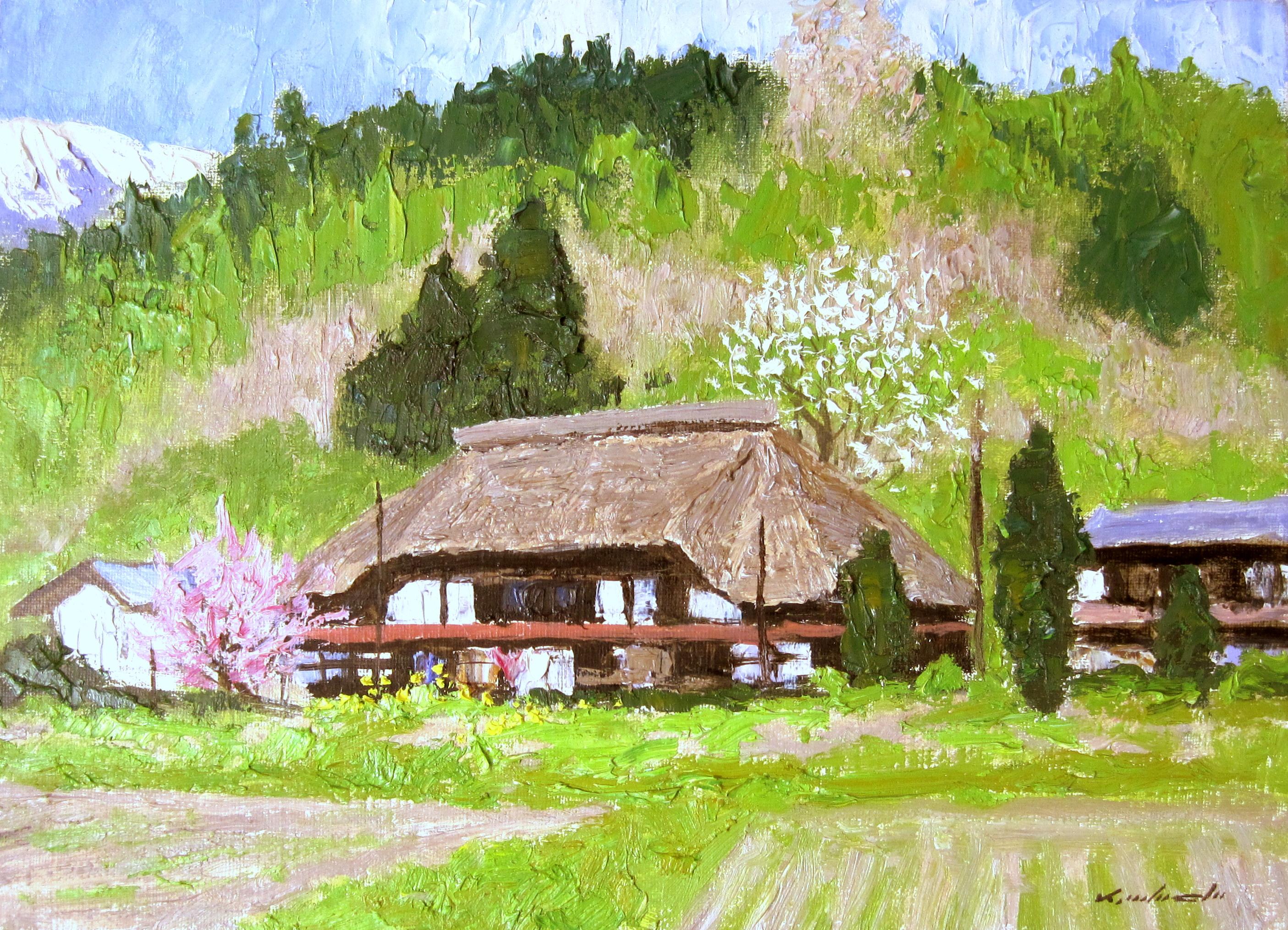 足立一夫「農家の陽春」油彩 F4・額寸555×463mm
