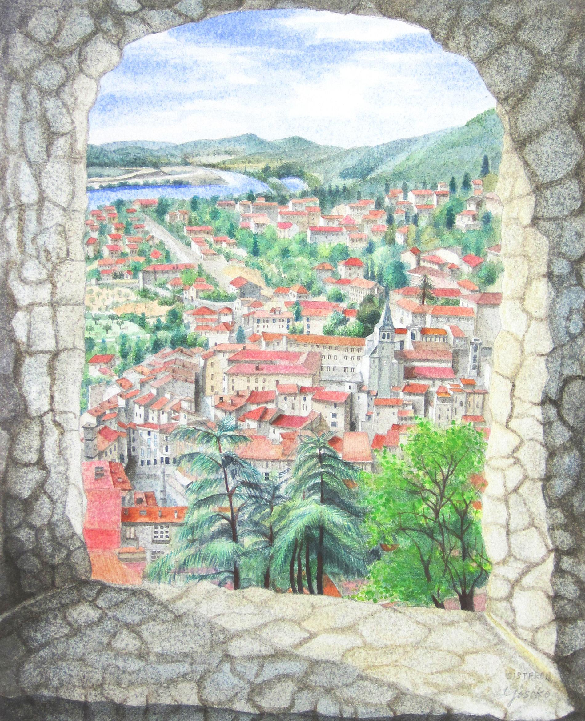 風景画・志村好子「中世の街 SISTERON(シストロン)」水彩画(絵寸317×408・額寸392×507mm)