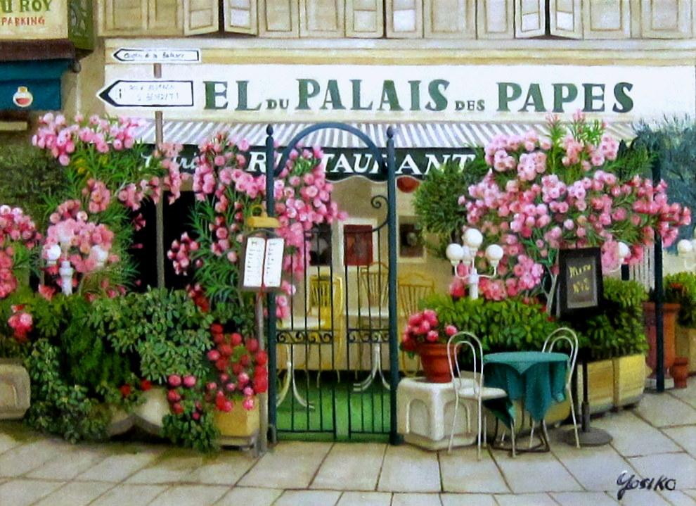 ヨーロッパ風景・志村好子 「アヴィニョンの街角」 油彩 F8 :外寸482×607mm