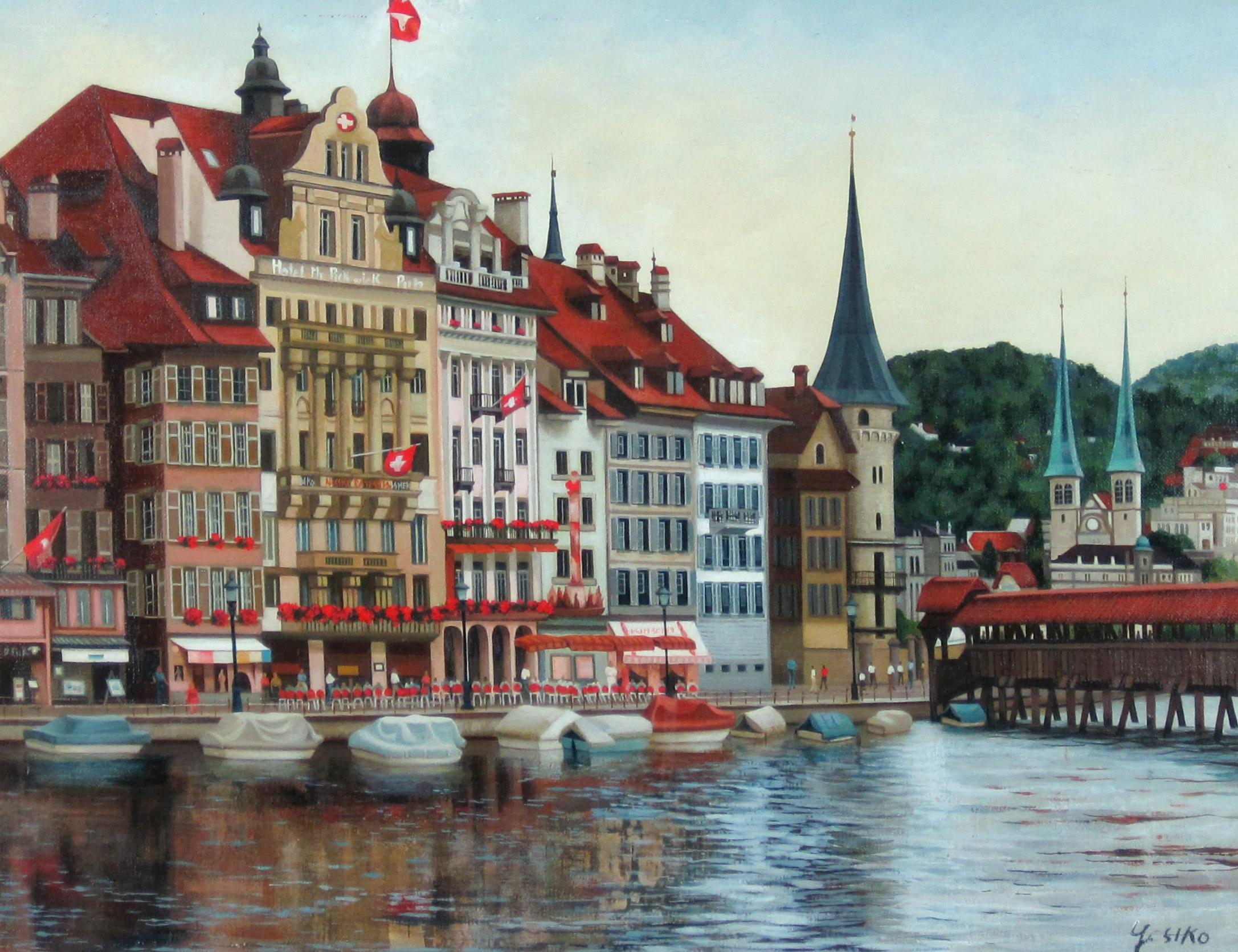 ヨーロッパ風景・志村好子 「名曲の街ルッツェルン」 油彩 P10 :外寸587×707mm