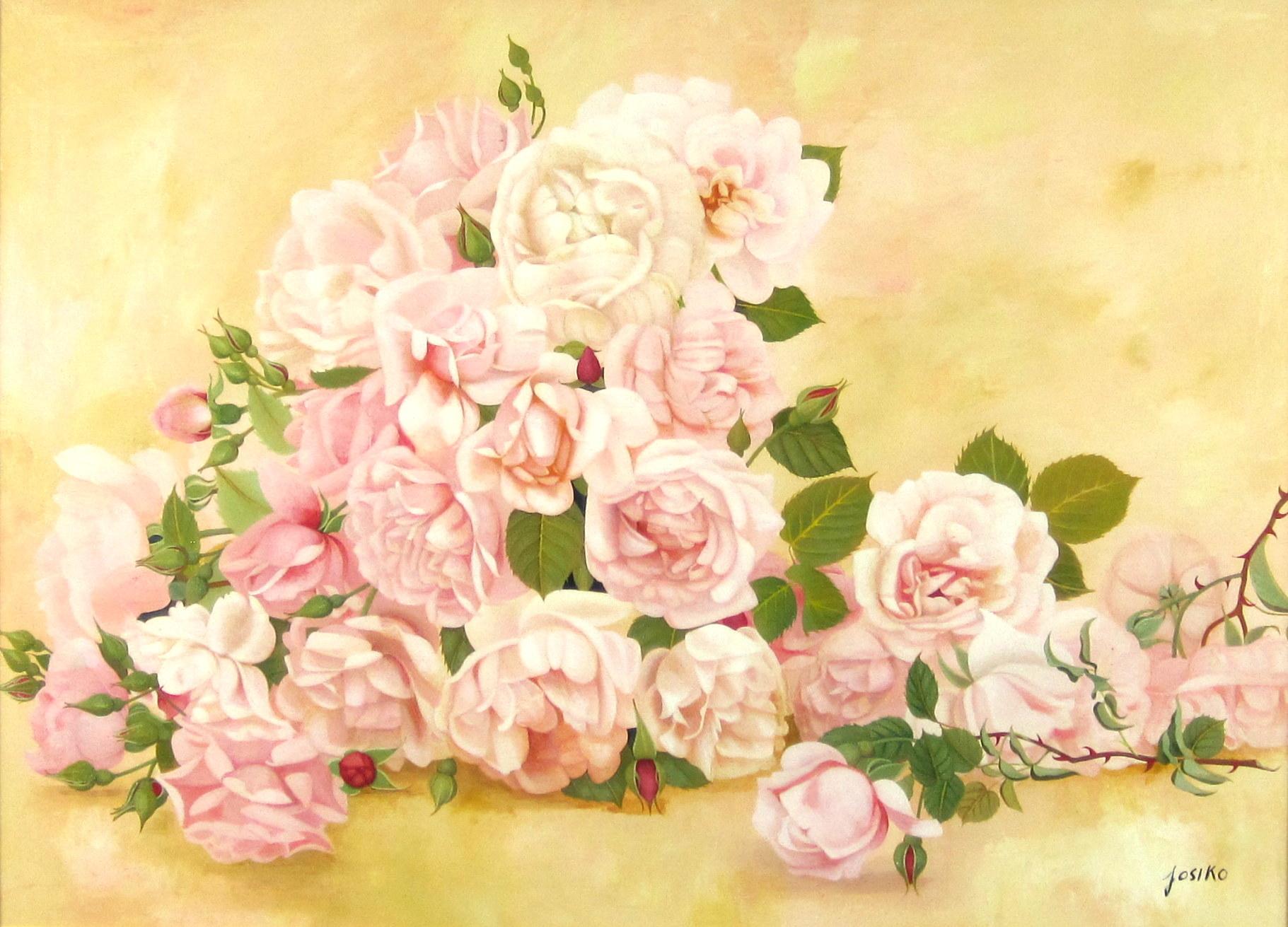 花の絵・志村好子「薔薇の笑み」 油彩 P20 外寸750×945mm