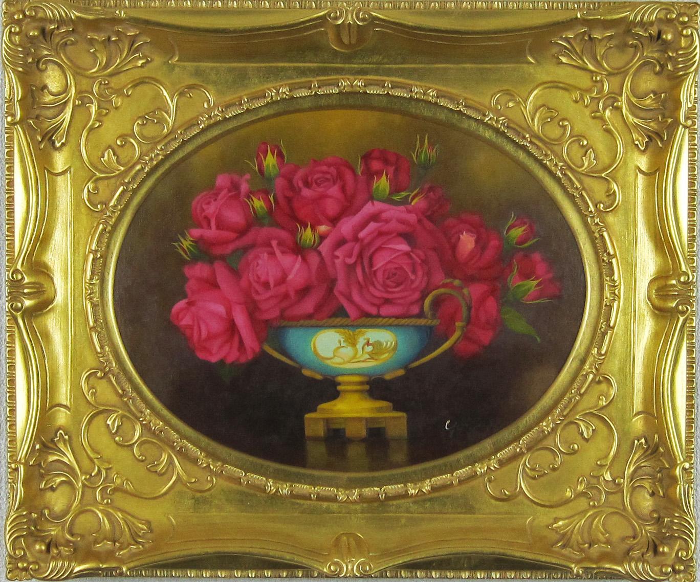 花の絵・志村好子 「薔薇(赤色)」油彩 F6変形丸型