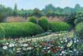 ヨーロッパ風景画・アンドリュー プライス「フラワーボーダー・バーリントンコート」アクリル画