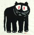 猫の絵・絵画専門店munay(ムナイ)・秋山巌「さてどちらへ」木版・2000年・ 額寸・567×560mm