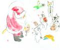 猫とオーケストラ・ 雨田光弘 「クリスマスコンサート」 水彩  額寸・620×770mm
