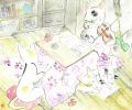 猫とオーケストラ・雨田光弘「家族で団欒」水彩・ 額寸・722×585mm