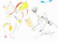 """猫の絵・雨田光弘「たすけて」水彩・額寸・577×463mm・""""猫の羽根つき"""""""