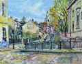 ヨーロッパ風景画・キャンビエ「モンマルトル」リトグラフ・外寸474×435mm