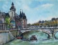 ヨーロッパ風景画・キャンビエ「ラ・セーヌ」リトグラフ・外寸494×454mm