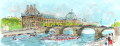 ヨーロッパ風景画・ ウシェ「セーヌとルーブル」リトグラフ・外寸450×760mm