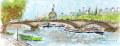 ヨーロッパ風景画・ ウシェ「セーヌとアンバリット」リトグラフ・外寸450×760mm