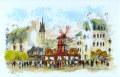 ヨーロッパ風景画・ ウシェ「ムーランルージュ」リトグラフ・外寸465×605mm