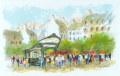 ヨーロッパ風景画・ ウシェ「ポルトフィーズ」リトグラフ・外寸465×605mm