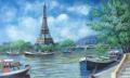 ヨーロッパ風景画・ ジェレミー キング「エッフェル塔」リトグラフ・外寸510×590mm
