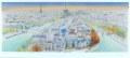ヨーロッパ風景画・ラフルスキー「パリ眺望」リトグラフ・外寸450×760mm