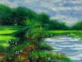 ヨーロッパ風景画・ ロビック「花咲く庭」リトグラフ・外寸513×593mm