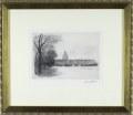 ヨーロッパ風景画・ウーチャー「パリの眺め」エッチング・外寸400×334mm