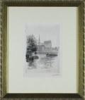 ヨーロッパ風景画・ウーチャー「セーヌ河」エッチング・外寸400×334mm