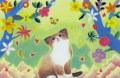 和代人平「チョウを見上げる子猫」リトグラフ  外寸・415×323mm