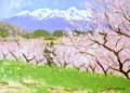 足立一夫「八ヶ岳の春」油彩 F4・額寸555×463mm
