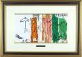 シャガール「丸木小屋の風景」1957年リトグラフ・額寸460×650mm