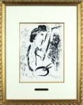 シャガール「キャンバスに向かって」1960年リトグラフ・額寸444×560mm