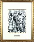 シャガール「辻音楽師」1960年リトグラフ・額寸444×560mm